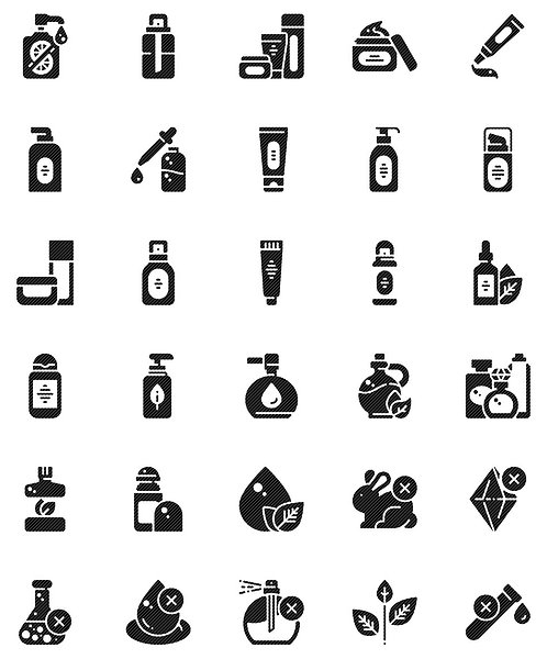 Beauty Skin Care Glyph Icons Set