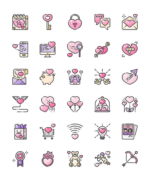Love Valentine's Day Filled Outline Icons Set