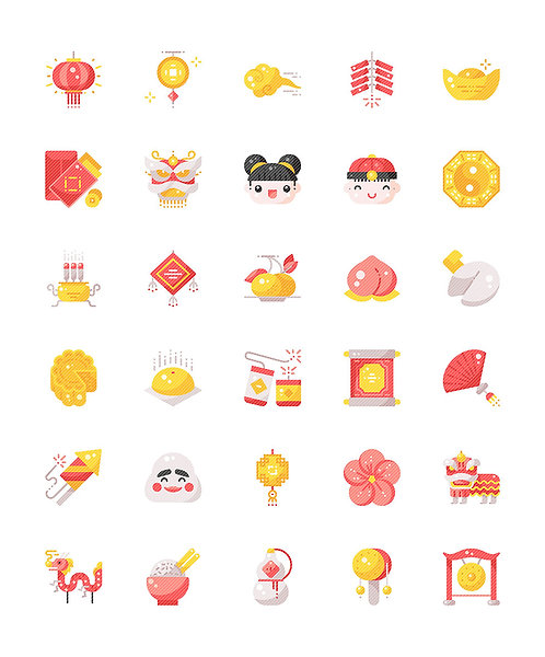 Chinese New Year Flat Icons Set - Extended