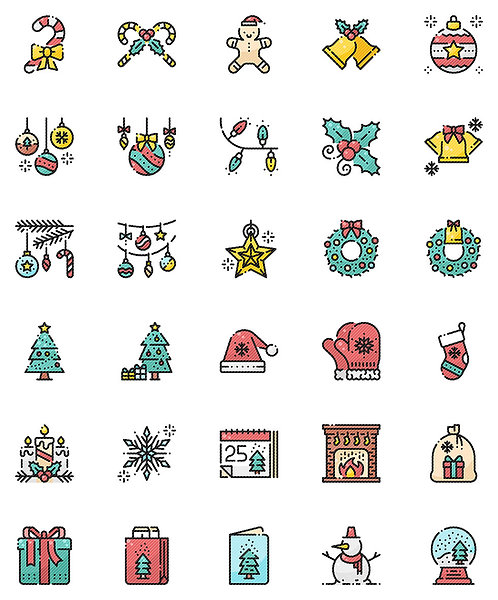 Christmas Decorations Filled Outline Icons Set