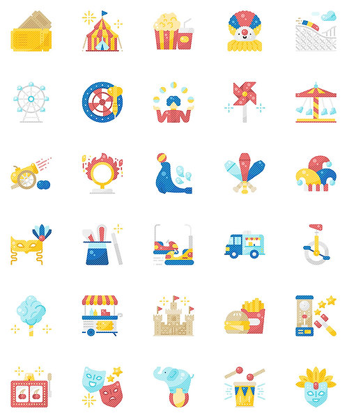Carnival Flat Icons Set - Extended