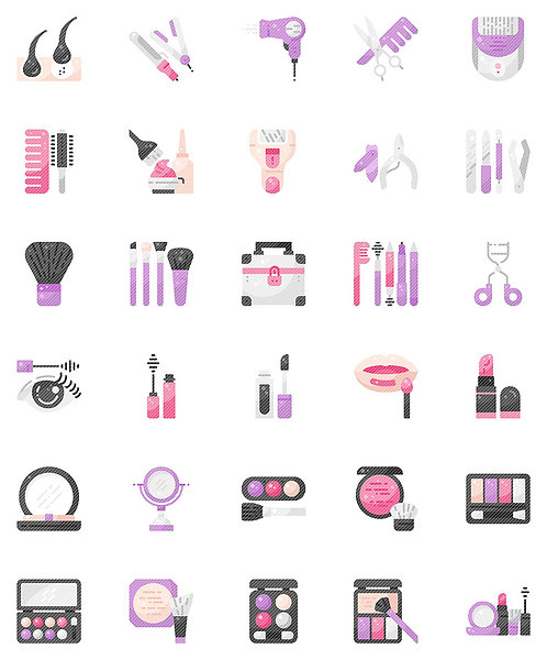 Hair And Makeup Flat Icons Set