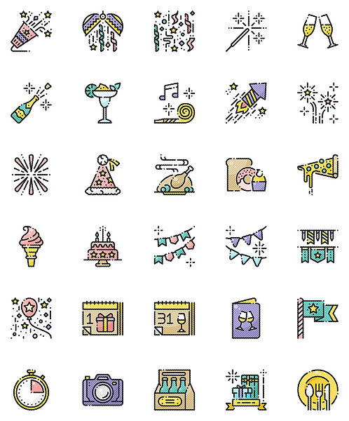 New Year Filled Outline Icons Set