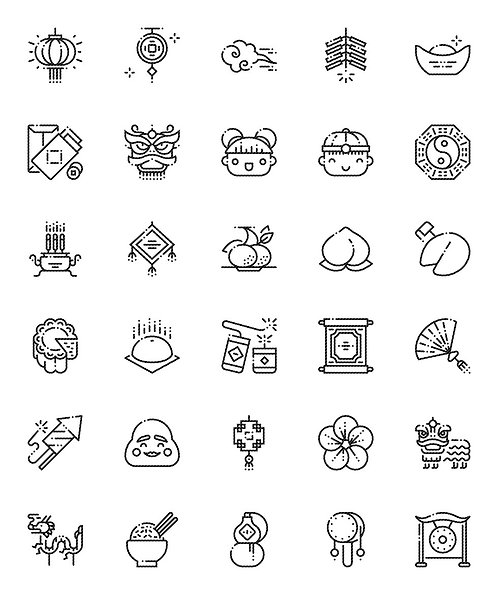 Chinese New Year Outline Icons Set-Extended
