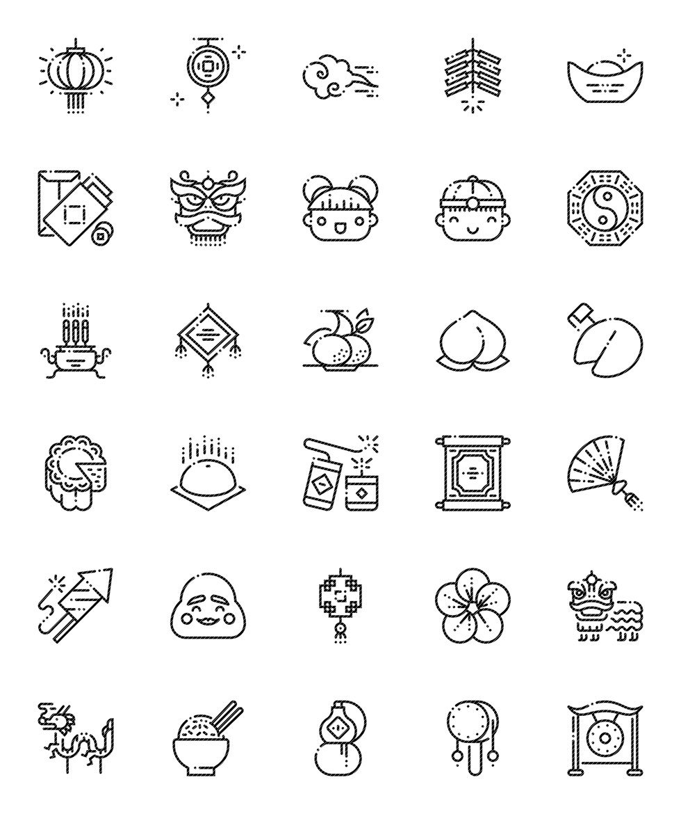 Chinese New Year Outline Icons Set