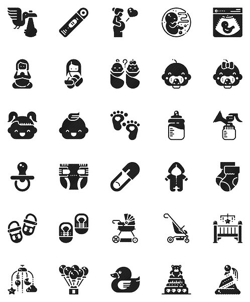 Baby Shower Glyph Icons Set - Extended