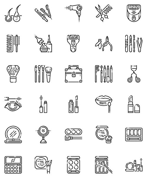 Hair  And Make up Outline Icons Set