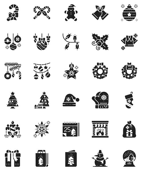 Christmas Decorations Glyph Icons Set - Extended