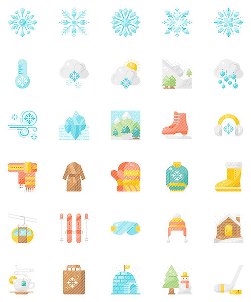 Winter Snow Flat Icons Set - Extended