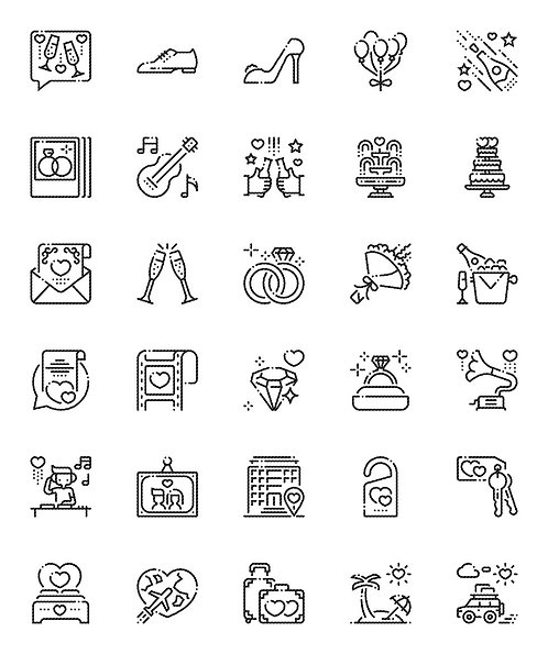 Wedding V2 Outline Icons Set-Extended