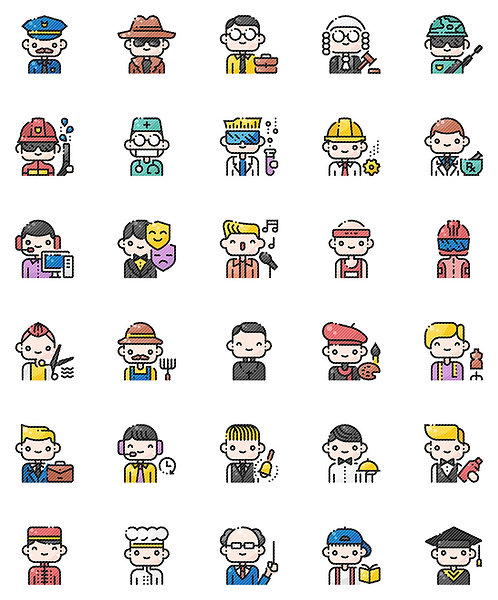 Male Professionals Filled Outline Icons Set-Extended