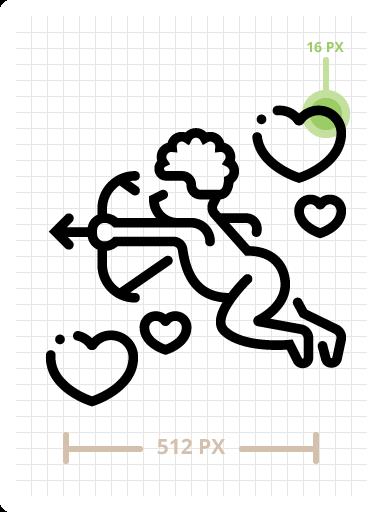 Cupid Outline Icon Illustration