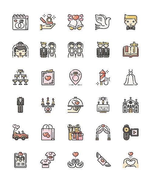 Wedding V1 Filled Outline Icons Set