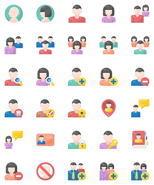 User Flat Icons Set - Extended