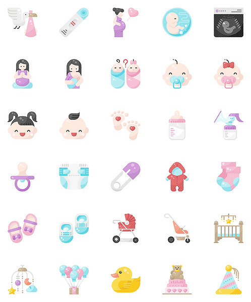 Baby Shower Flat Icons Set - Extended