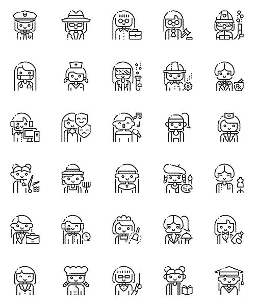 Female Professional Outline Icons Set-Extended