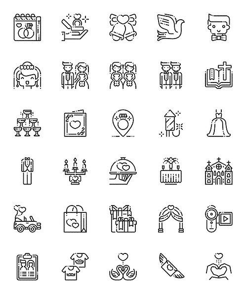 Wedding V1 Outline Icons Set-Extended