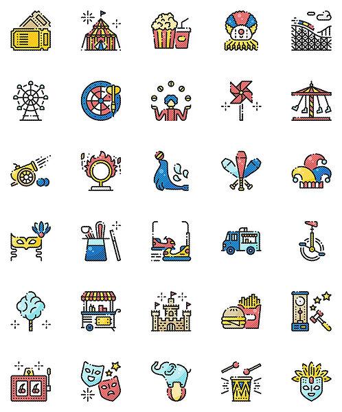 Carnival Filled Outline Icons Set