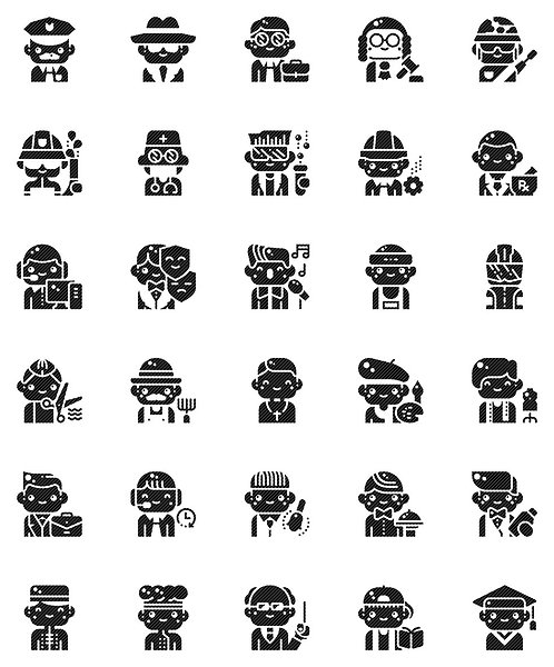Male Professionals Glyph Icons Set - Extended