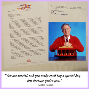 Cole's letter from Mister Rogers