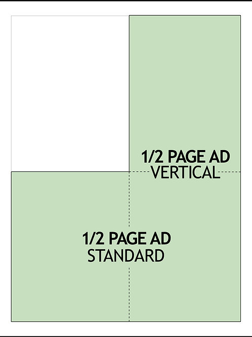 1/2 PAGE AD — 6 MONTHS $1350/AD