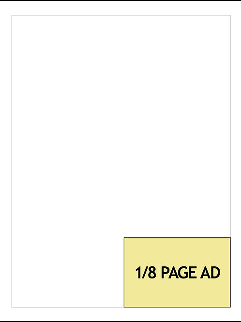 1/8-PAGE AD — 1 MONTH $400/AD