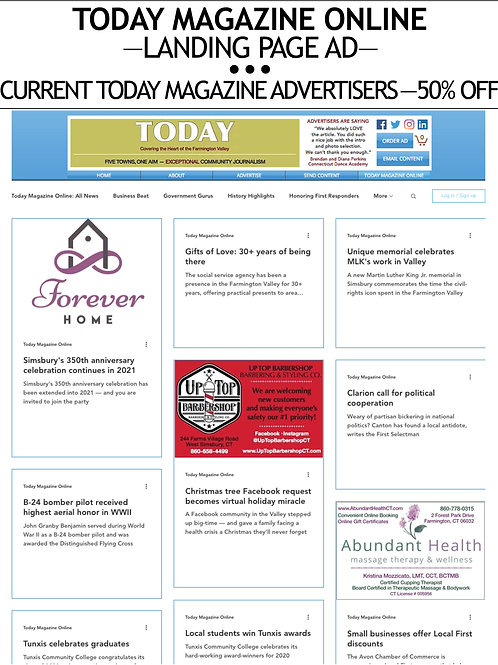—TODAY MAGAZINE ONLINE— LANDING PAGE AD — $50/AD