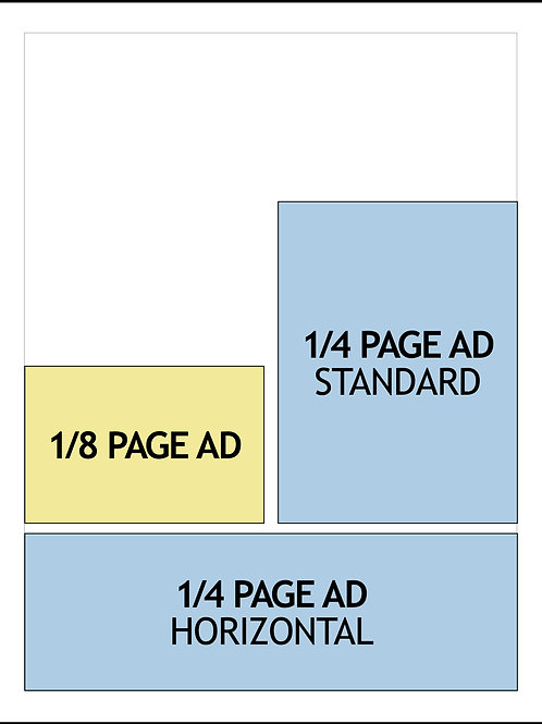 AD DESIGN — 1/8-PAGE AD or 1/4-PAGE AD — $95