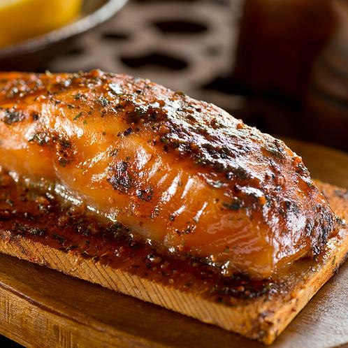 Cedar Plank Salmon - Maple BBQ