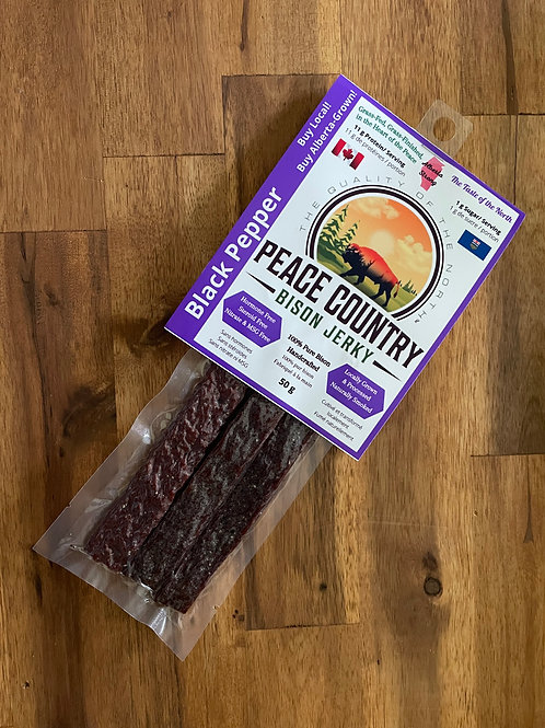 Peace Country Bison Jerky - Black Pepper Pressed 50g