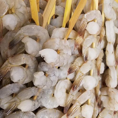 Shrimp Skewers, 21/25 per pound.
