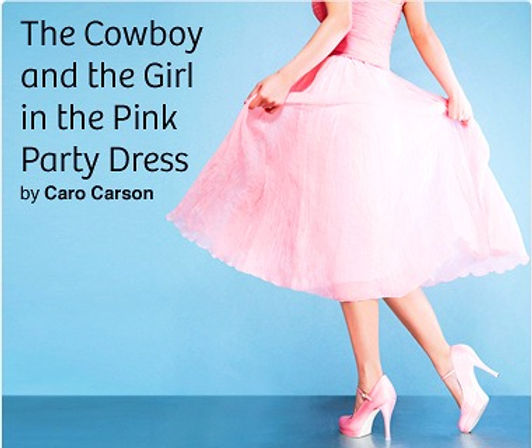 A woman's pink skirts and her pink high heels on a blue background with the story title