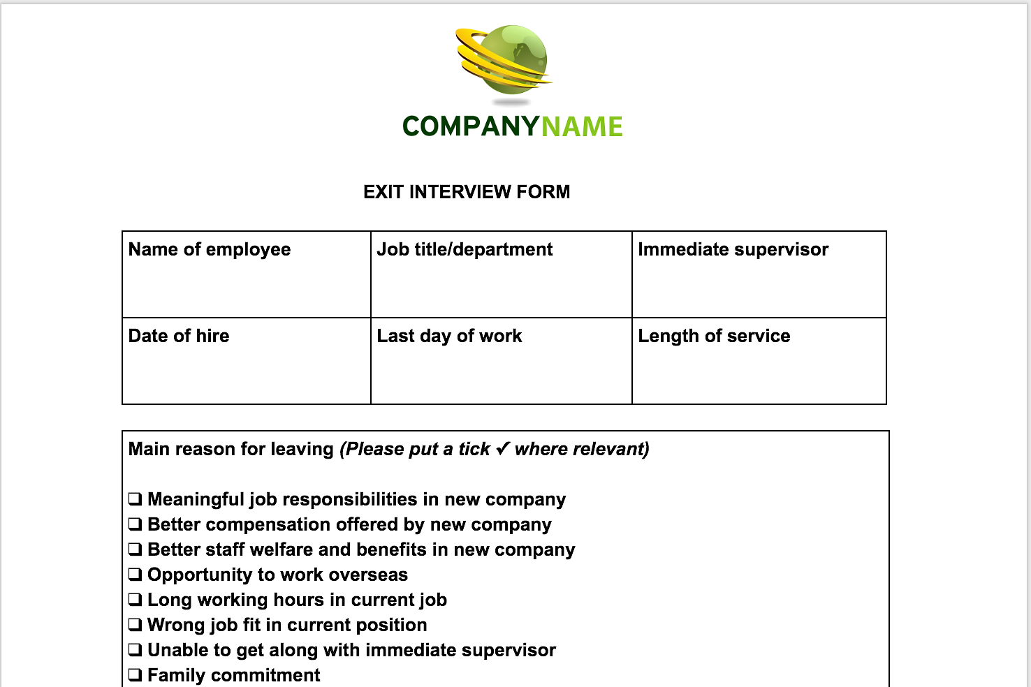 employment exit interview form