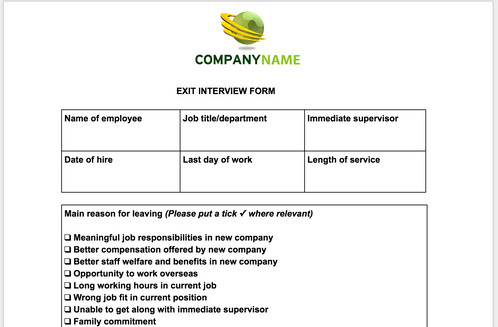 Exit Interview Form Anne Caron Consulting – Exit Interview Form