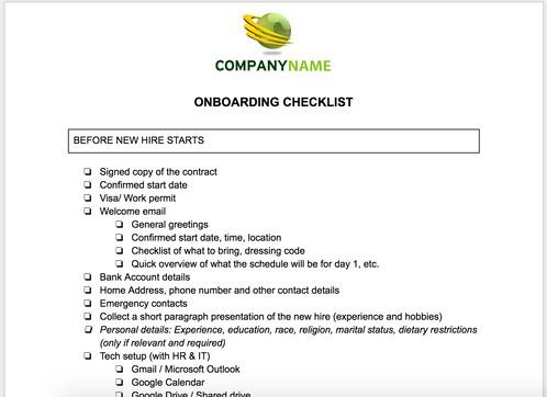 new employee onboarding checklist