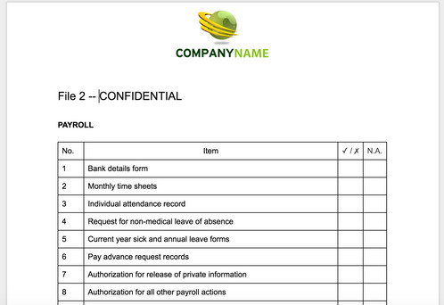 Employee Personnel File Checklist | Anne Caron Consulting | HR ...