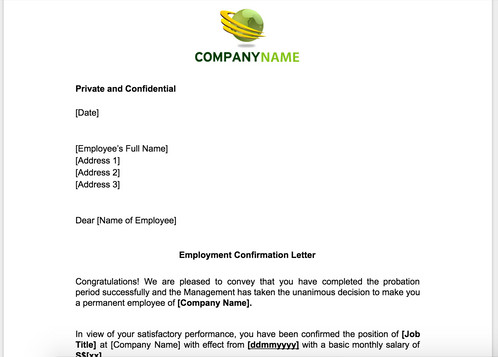 Employment Confirmation Letter After Probation