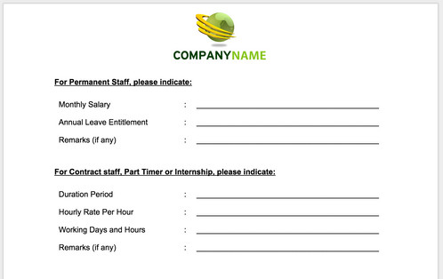 employees personal information form