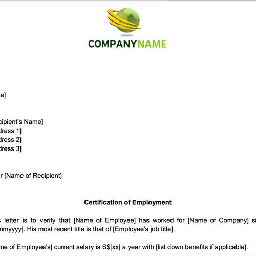 Employment Certification Letter