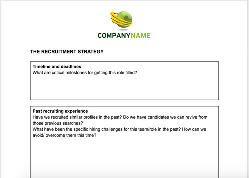 Hiring Manager Brief Template | Anne Caron Consulting | HR ...