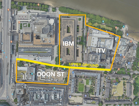 Aerial view of development sites on Upper Ground