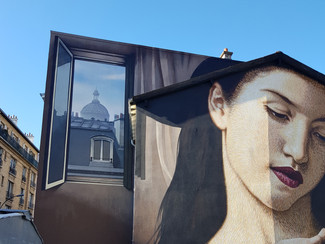 Mural Madonna with a smartphone