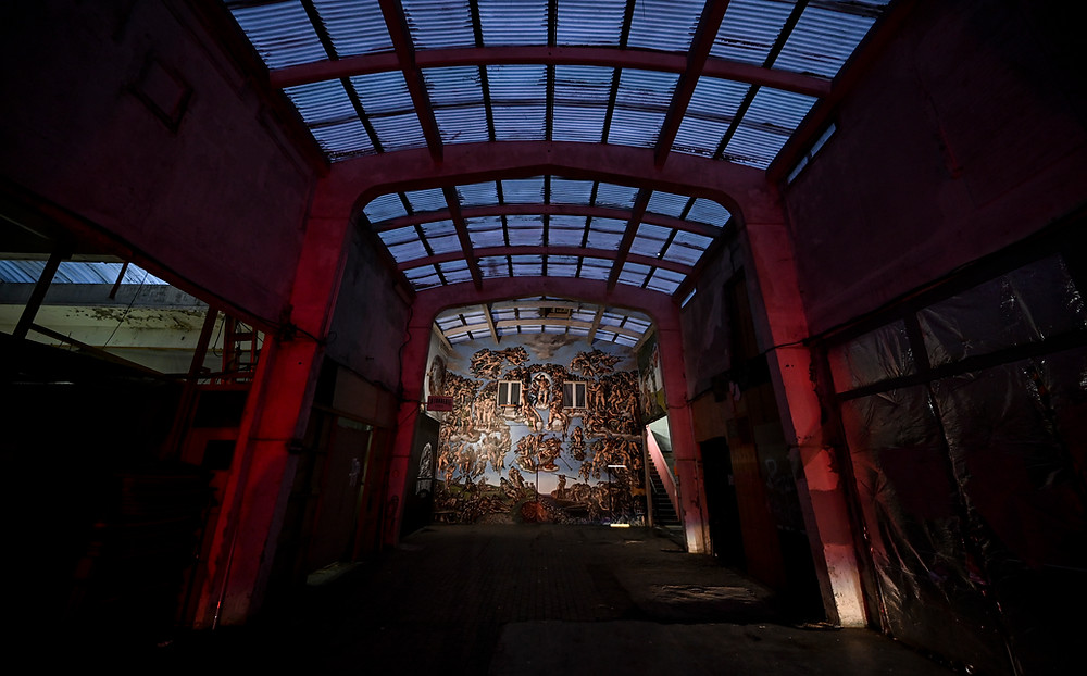 Large view at nightfall of The Underground Sistine Chapel. Photo by @Stefano Rellandini