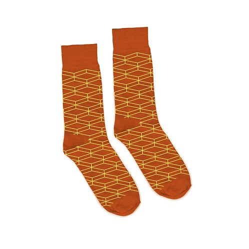 Geometric Socks - Gray - Orange