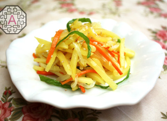 Stripe cut potato banchan