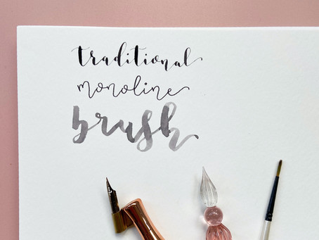 Calligraphy styles: traditional vs monoline vs brush