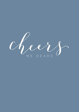 Cheers me dears in white calligraphy on a dusky blue greeting card
