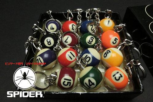 ◆ビリヤードボール型 カラフルキーホルダー 1から15番までセット ソノタ SPIDER