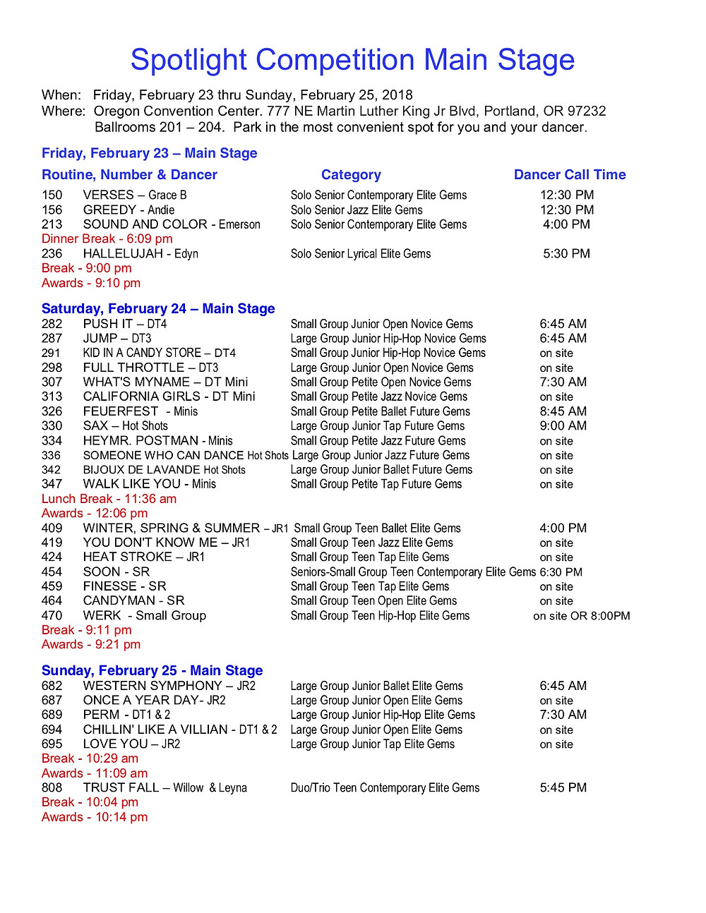 For easy access of the Spotlight Schedule