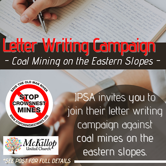 Letter Writing Campaign - Coal Mining on